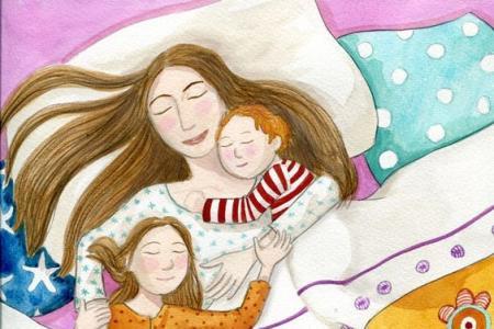和妈妈一起入眠母亲节儿童画范画