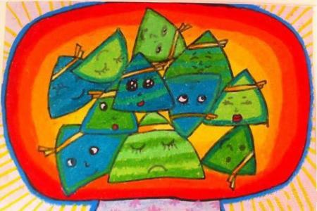 端午节儿童画 可爱的粽子
