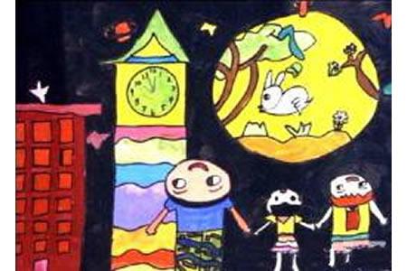 庆祝中秋节儿童画大全-举头望明月