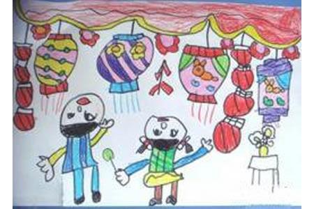 元宵节儿童画画图片:看花灯