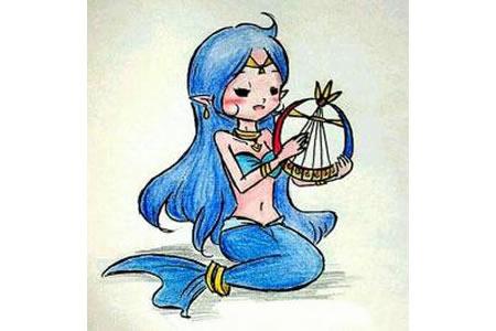 弹奏竖琴的美人鱼儿童画画美人鱼作品分享