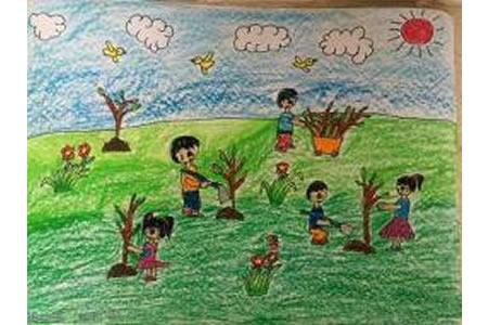 一年级植树节绘画作品之让我们一起来植树