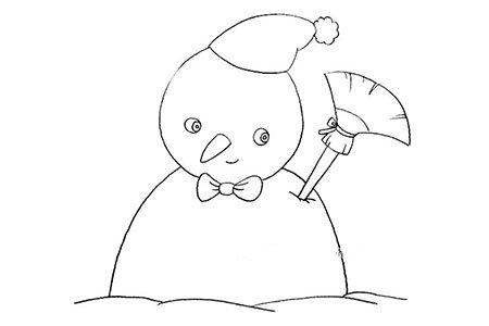 欢乐的冬天 雪人简笔画图片
