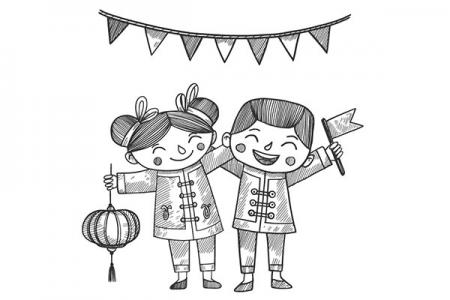 3张新年快乐插画图片
