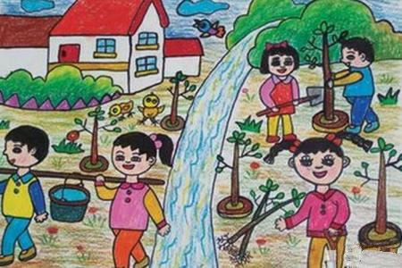 小学生种树记以五一为主题的绘画作品分享