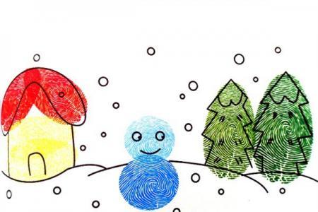 指印画作品 雪地里