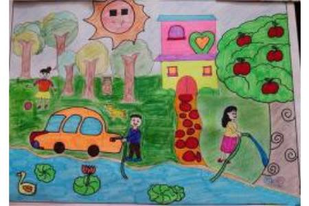 我心中的绿色家园关于植树节的画