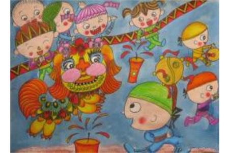 儿童画欢庆节日