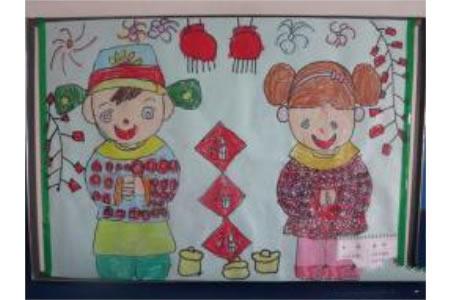 儿童画红红火火的新年