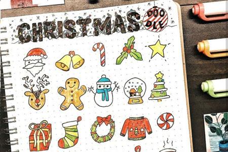 圣诞节彩色手帐简笔画