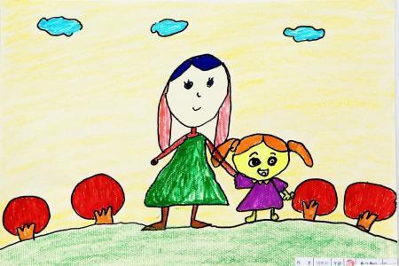 美丽的春天儿童画-我和妈妈踏春