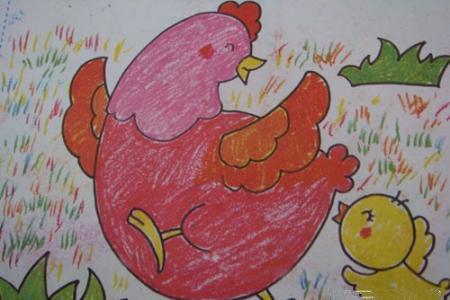 优秀儿童水彩画-鸡妈妈和小鸡玩游戏