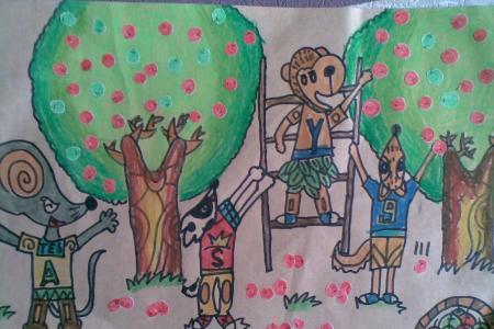 五一劳动节儿童画-小动物的劳动成果