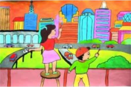 欢度国庆节儿童画-国庆喜乐事