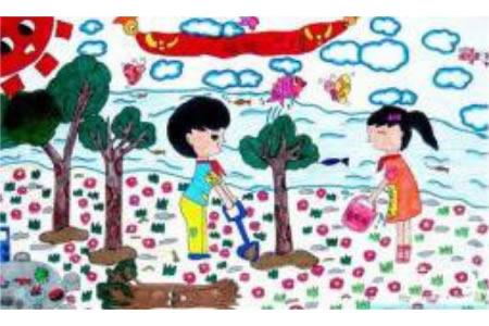 植树节儿童画图片-小朋友在植树