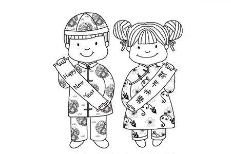 新年快乐中国娃娃简笔画