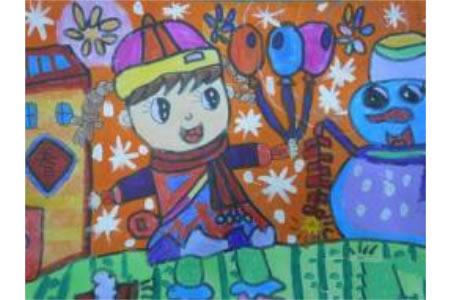 冬天景色图片儿童画-下雪了