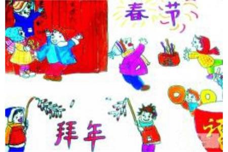 儿童画春节拜年