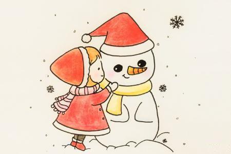 圣诞节小女孩堆雪人
