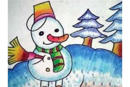 冬天雪人儿童画作品欣赏