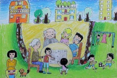 祖孙情深重阳节尊老敬老的绘画作品分享