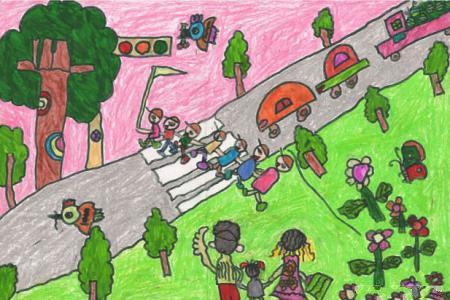 关于清明节的儿童画-全家去郊游