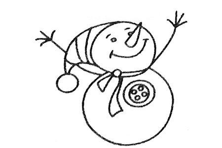 一组漂亮的雪人简笔画图片