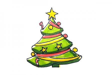 漂亮的圣诞树怎么画