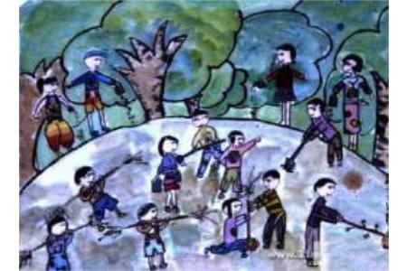 植树节优秀儿童画-热闹的场面