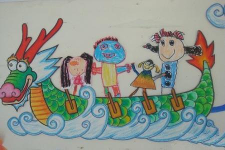 端午节赛龙舟儿童画-我们在龙舟上游玩