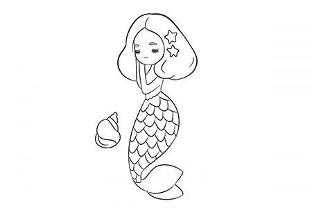 卡通美人鱼简笔画图片