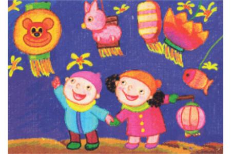 2017有关元宵节的儿童画作品欣赏