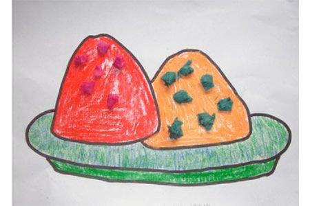 端午节儿童画欣赏-端午吃粽子