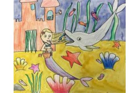 美人鱼和小海豚海底世界场景画图片分享