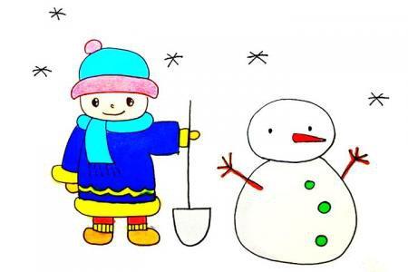 堆雪人的小男孩怎么画