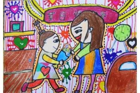幼儿园妇女节儿童画-妈妈节日快乐