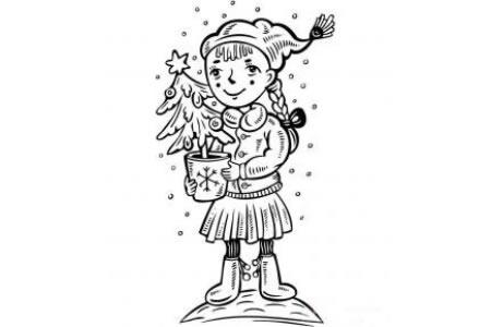 拿着圣诞树的小女孩