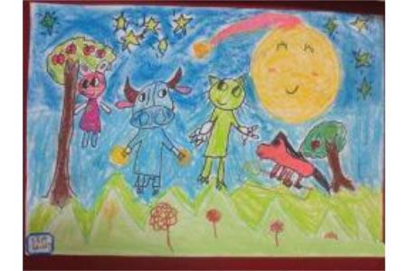森林中秋聚会,中秋节题材儿童画
