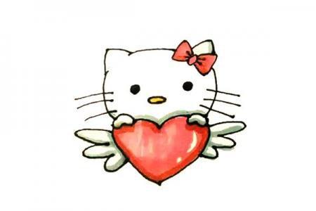 爱心Hello kitty简笔画