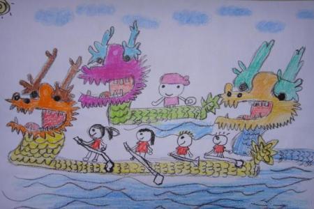 划龙舟的小朋友画端午节的画作品分享