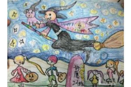 万圣节的儿童画-飞翔的万圣节