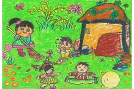 幼儿园劳动节儿童画-互帮互助