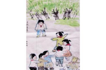 美好童年关于六一的国画