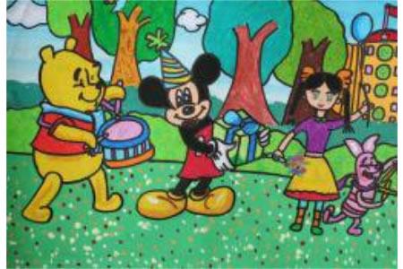 儿童画 米老鼠和维尼