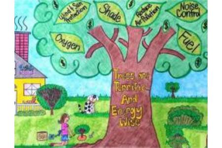小女孩种树二年级植树节图画赏析