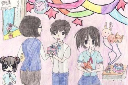 六年级教师节儿童画彩色铅笔画图片:师生同庆教师节