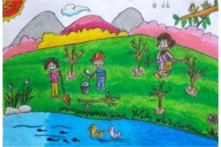 儿童画春天的树图画-我们一起来植树