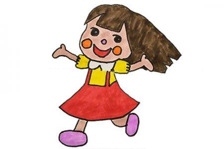 欢乐的小女孩简笔画教程