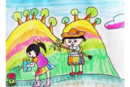 种树的小姐妹简单的植树节画作品赏析