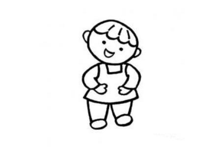 六一儿童节简笔画素材 开心的小朋友